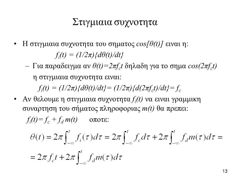 Στιγμιαια συχνοτητα Η στιγμιαια συχνοτητα του σηματος cos[θ(t)] ειναι η: fi(t) = (1/2π){dθ(t)/dt}